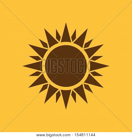 The sunshine icon. Sunrise and sunshine, weather, sun symbol. UI. Web. Logo. Sign. Flat design. App. Stock vector