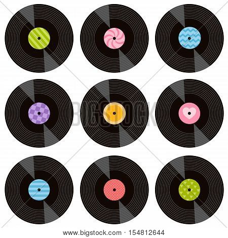 set of vinil records isolated on white