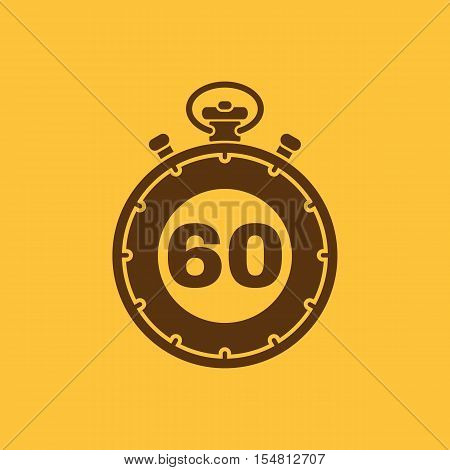 The 60 seconds, minutes stopwatch icon. Clock and watch, timer, countdown, stopwatch symbol. UI. Web. Logo. Sign. Flat design. App. Stock vector