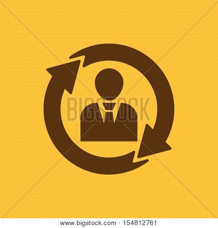 The management and rotation icon. Management and rotation, partnership, communication, human resources symbol. UI. Web. Logo. Sign. Flat design. App. Stock vector