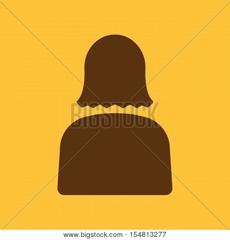 The woman icon. Lady and girl, avatar, people, woman symbol. UI. Web. Logo. Sign. Flat design. App. Stock vector
