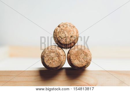 corks lies on a table-top with white background