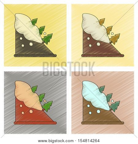 assembly flat shading style icon of snow avalanche spruce