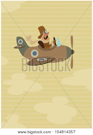 Vertical cartoon illustration of a vintage pilot on his pane flying high on sky in brown colour