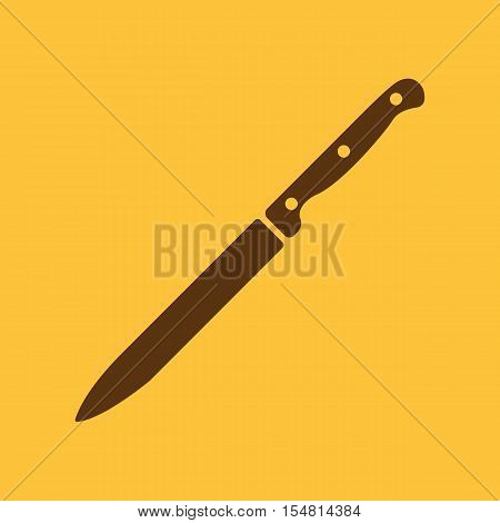 The knife for meat icon. Knife and chef, kitchen symbol.UI. Web. Logo. Sign. Flat design. App. Stock vector