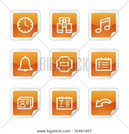 Organizer web icons, orange glossy sticker series