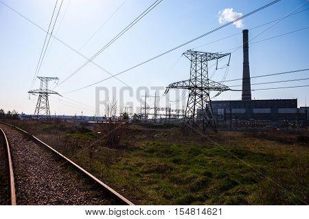 Cogeneration plant in Kyiv (Ukraine) transmission lines and railroad near it.