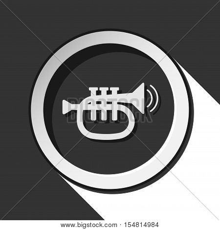 black and white round - trumpet, sound and two vibration waves icon with long shadow