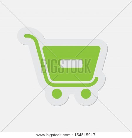 simple green icon with light gray contour and shadow - shopping cart minus on a white background