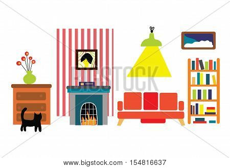 Interior of the room in the funny flat style - vector graphic illustration