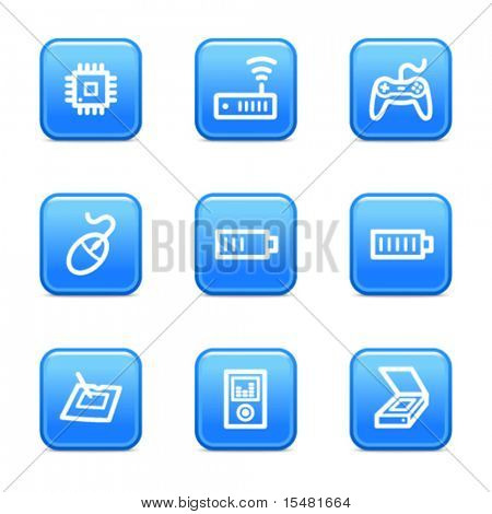 Electronics 2 web icons, blue glossy buttons series