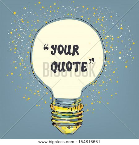 Lightbulb with the frame for the quote - vector graphic illustration