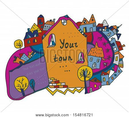 Funny town scene background for kids - vector graphic illustration