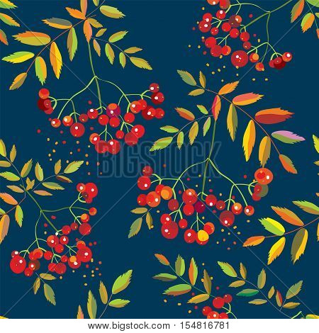 Rowan berries seamless pattern with leaves - vector graphic illustration