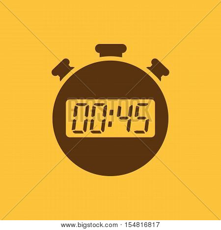 The 45 seconds, minutes stopwatch icon. Clock and watch, timer, countdown, stopwatch symbol. UI. Web. Logo. Sign. Flat design. App. Stock vector