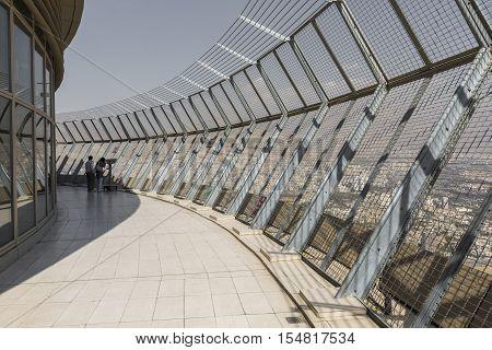 Teheran, Iran - October 05, 2016:  Observation Deck At Milad Tower In Tehran On October 05, 2016. Th