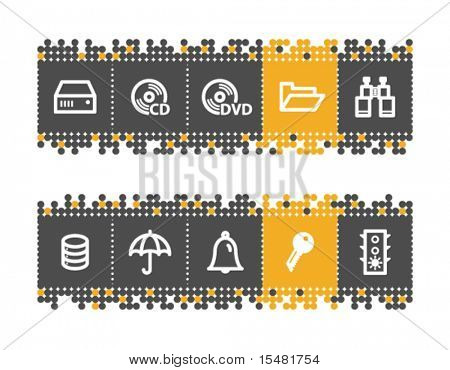 File server web icons on grey and orange dots bar. Vector file has layers, all icons in two versions are included.
