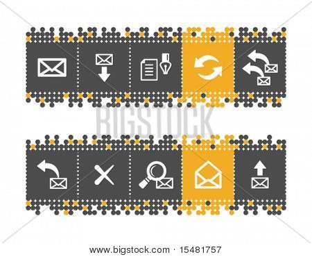 E-mail web icons on grey and orange dots bar. Vector file has layers, all icons in two versions are included.