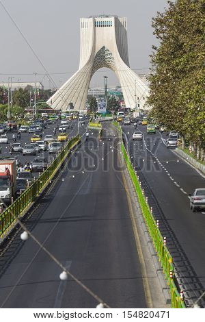 TEHERAN IRAN - OCTOBER 03 2016: Azadi Tower located at Azadi Square in Teheran city Iran.