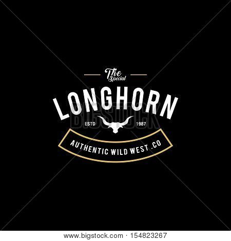 Vintage label with silhouette of bull head. Texas Wild West Theme. Vector illustration