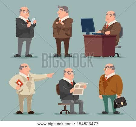 Businessman Big Boss Adult Old Man Character Cartoon Set Vector Illustration