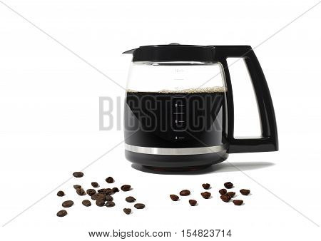 Still Life of a Coffee Pot and Scattered Coffee Beans on White Background