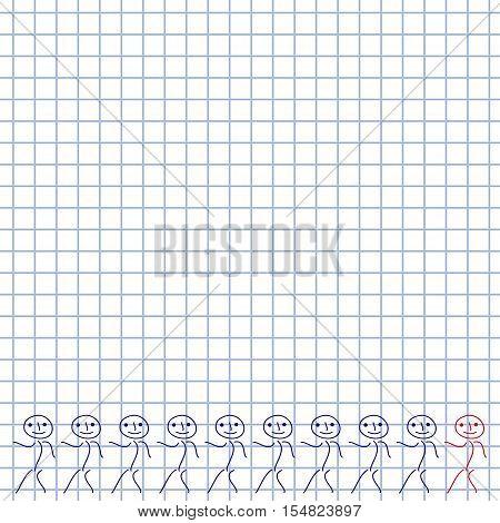 Ten men as doodles on squared paper. Vector illustration.