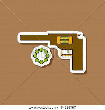 paper sticker on stylish background of Kids toy pistol