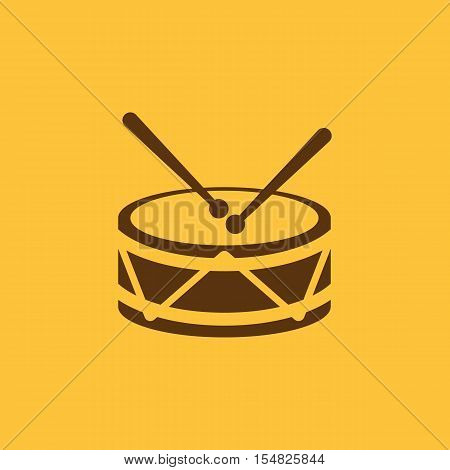 Drum icon. design. Music and toy, Drum symbol. web. graphic. AI. app. logo. object. flat. image. sign. eps. art. picture - stock vector