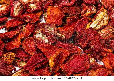 sun-dried red tomatoes, dry vegetable food background