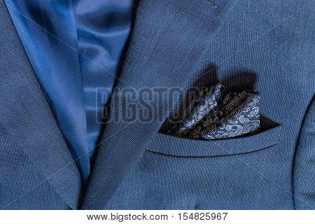 Blazer Closeup Texture Detail Textile Blue Tuxedo Suit Professional Handsome Men Fashion Button Hand