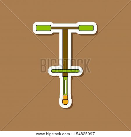 paper sticker on stylish background of Kids toy pogo stick