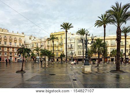 CADIZ SPAIN - JULY 8 2016: Cadiz square Spain Andalusia. Historical building