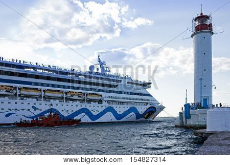 ODESSA UKRAINE - JULY 22, 2016: Cruise ship Aida Aura came into the port of Odessa, Ukraine. Odessa is the biggest cruise port of Ukraine