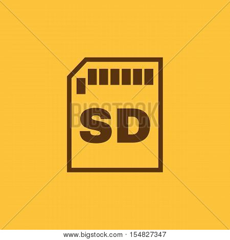 The sd card icon. Transfer and connection, data, sd card symbol. UI. Web. Logo. Sign. Flat design. App. Stock vector