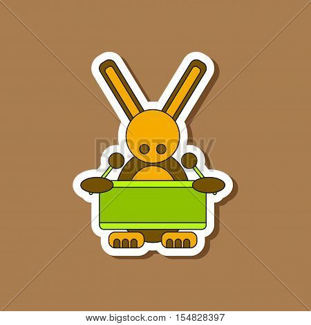 paper sticker on stylish background of Kids toy rabbit drummer