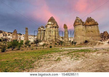 Turkey, Cappadocia landscape, Goreme national park canion
