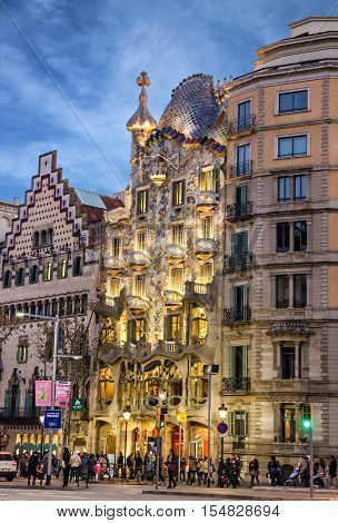 Barcelona, Spain - Sep 7, 2016: Building Casa Batllo, Gaudi architecture