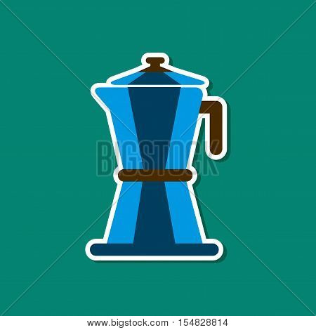 paper sticker on stylish background of coffee machine maker