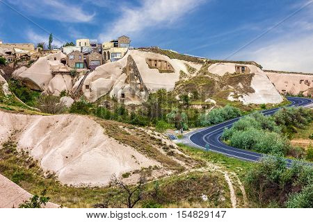 Goreme cave town, Cappadocia, Anatolia, Turkey. Volcanic mountains in Goreme national park.