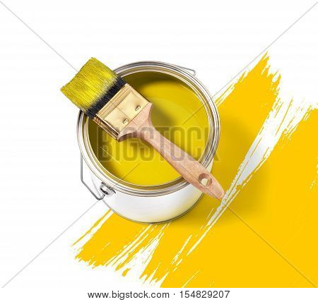 Yellow paint tin can with brush on top on a white background with yellow strokes