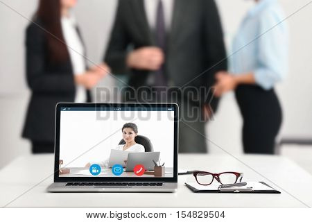 Video conference with lawyer on computer. Video call and online service concept.