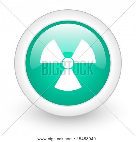 radiation round glossy web icon on white background