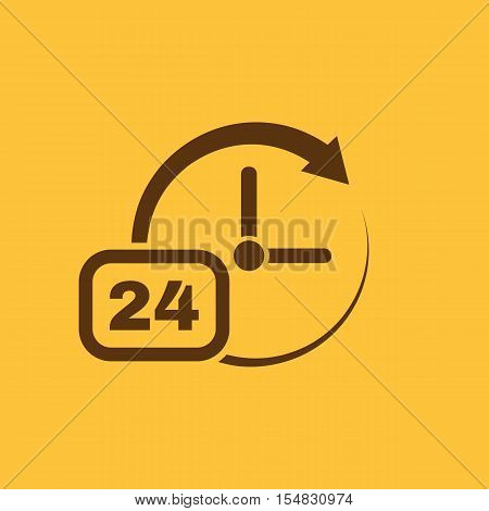 Time, clock icon. Time and watch, timer, 24 hours symbol. UI. Web. Logo. Sign. Flat design. App. Stock vector