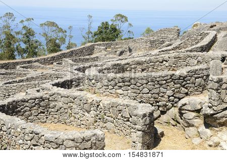 Fortified Iron Age settlements in Santa Tecla Mountain in Galicia Spain.