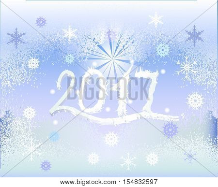 Winter frozen background with snowflakes, star and inscription 2017. White inscription with icicles on a blue background resembling frozen window