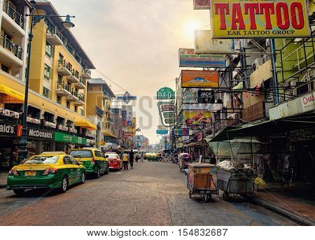 Bangkok, Thailand - January 8, 2016: Khaosan road in the evening preparation for the night life. It is a popular food street and famous district for back packer and budget tourist.