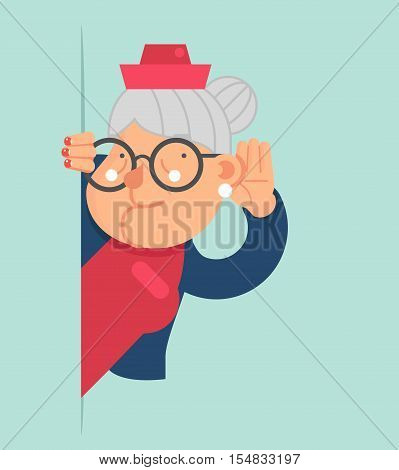 Old Lady Gossip Listen Overhear and Spy Out Corner Adult Cartoon Character Flat Design Vector Illustration