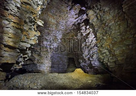 Old abandoned limestone quarry in village Kon-Kolodets Lipetsk Region, Russia