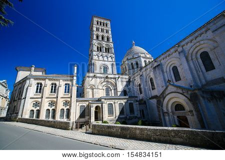 Romanesque Cathedral of Angouleme capital of the Charente department in France. poster